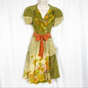 Yoana Baraschi Floral Silk Short Sleeved Dress